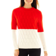 Liz Claiborne Long-Sleeve Colorblock Cable Sweater