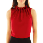 Worthington® Sleeveless Ruched-Neck Blouse