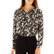 Worthington® Long-Sleeve Pleated Blouse