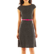 9 & Co.® Belted Striped Dress
