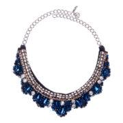 Gemma Simone™ Blue Stone Silver-Tone Bib Necklace
