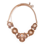 Gemma Simone™ Simulated Pearl Two–Tone Statement Necklace