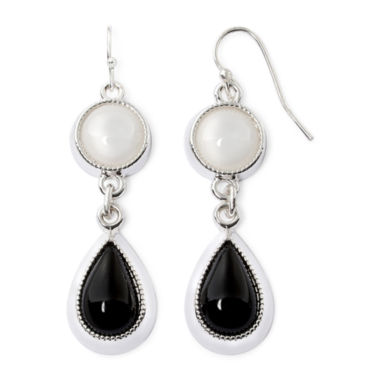 jcpenney.com | Liz Claiborne® Black and White Silver-Tone Double Drop Earrings