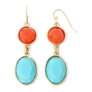 Liz Claiborne® Aqua and Coral Gold-Tone Double Drop Earrings