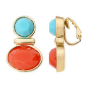 Liz Claiborne® Aqua and Coral Gold-Tone Clip–On Earrings