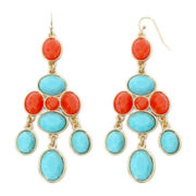 Liz Claiborne® Aqua and Coral Gold-Tone Chandelier Earrings