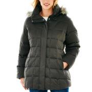 a.n.a® Faux-Silk Hooded Down Puffer Jacket - Plus