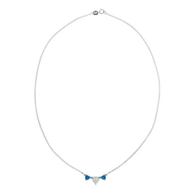 jcpenney.com | Lab-Created Opal & Blue Topaz Heart-Shaped 3-Stone Sterling Silver Necklace