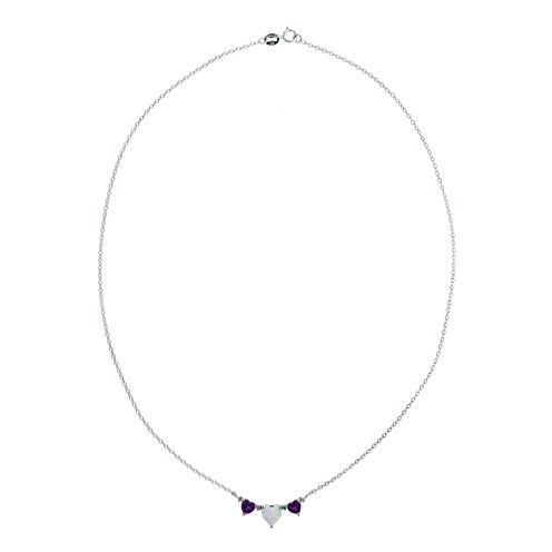 Lab-Created Opal & Amethyst Heart-Shaped 3-Stone Sterling Silver Necklace
