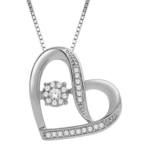 Love in Motion™ 1/7 CT. T.W. Diamond Sterling Silver Sideways Heart Pendant