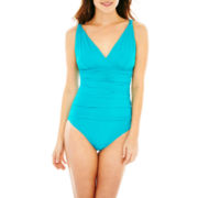Liz Claiborne® Shirred 1-Piece Swimsuit