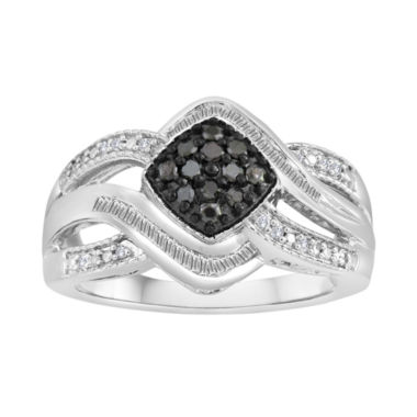 jcpenney.com | 1/3 CT. T.W. White & Color-Enhanced Black Diamond Sterling Silver Ring
