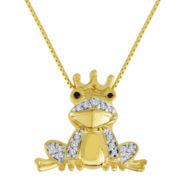 1/10 CT. T.W. White & Color-Enhanced Black Diamond Frog Pendant Necklace