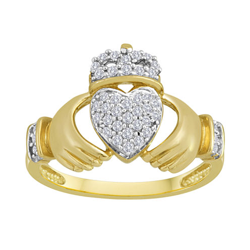 1/10 CT. T.W. Diamond Sterling Silver Claddagh Ring