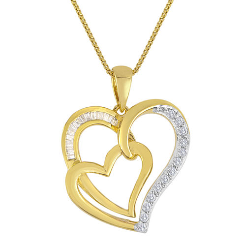 ForeverMine® 1/4 CT. T.W. Diamond Double-Heart Pendant