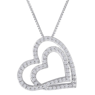 jcpenney.com | ForeverMine® 1/3 CT. T.W. Diamond Double-Heart Pendant Necklace