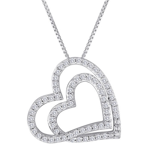 ForeverMine® 1/3 CT. T.W. Diamond Double-Heart Pendant Necklace