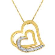 ForeverMine® 1/10 CT. T.W. Diamond Double-Heart Pendant Necklace