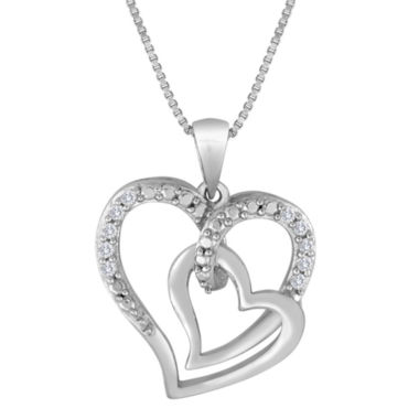 jcpenney.com | Forevermine Collection 1/10 CTTW Diamond Sterling Silver Double-Heart Pendant