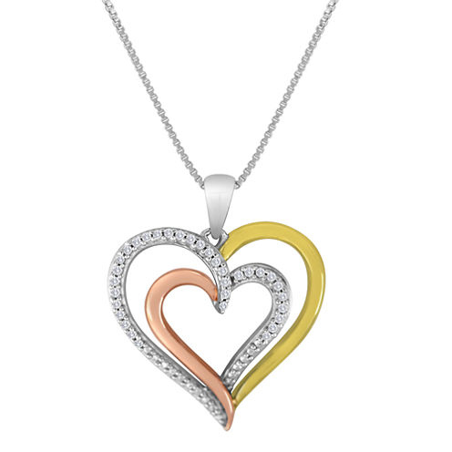 1/10 CT. T.W. Diamond Tri-Tone Double-Heart Pendant Necklace