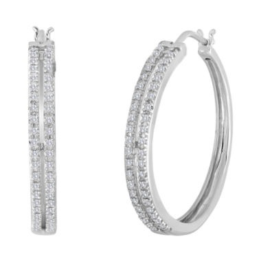 jcpenney.com | 1/5 CT. T.W. Diamond Sterling Silver 2-Row Hoop Earrings