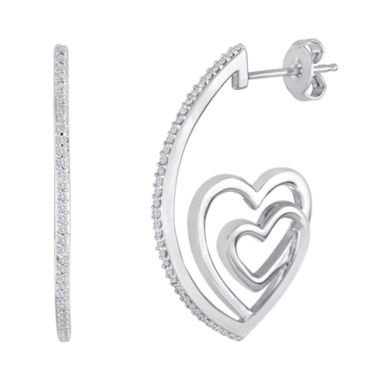 jcpenney.com | ForeverMine® 1/10 CT. T.W. Diamond Double-Heart Hoop Earrings