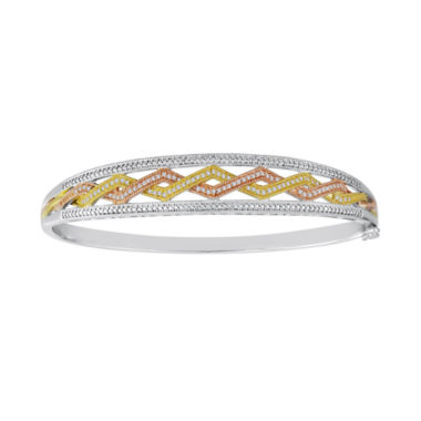 jcpenney.com | 1/4 CT. T.W. Diamond Tri-Tone Bangle Bracelet