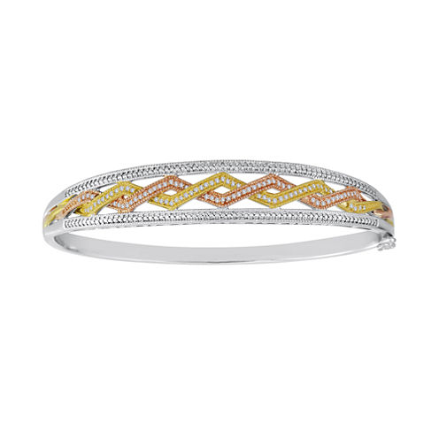 1/4 CT. T.W. Diamond Tri-Tone Bangle Bracelet