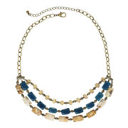 ROX by Alexa 3-Row Picture Jasper and Blue Jade Bib Necklace