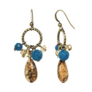 ROX by Alexa Picture Jasper and Blue Jade Cluster Earrings