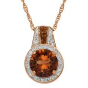 Crystal 14K Rose Gold Over Sterling Silver Pendant Necklace