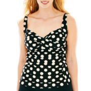 Liz Claiborne® Polka Dot Tankini Swim Top - Plus