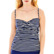 Liz Claiborne® Striped Twist Bandeaukini Swim Top - Plus