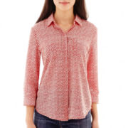 Liz Claiborne® 3/4-Sleeve Button-Front Shirt - Tall