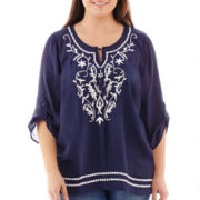 Alyx® 3/4-Sleeve Embroidered Peasant Top - Plus