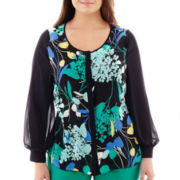 Worthington® Long-Sleeve Button-Front Colorblock Blouse - Plus