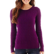 St. John's Bay® Long-Sleeve Crewneck Cable Sweater