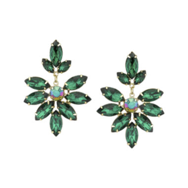 jcpenney.com | 1928® Green Gold-Tone Marquise Statement Earrings
