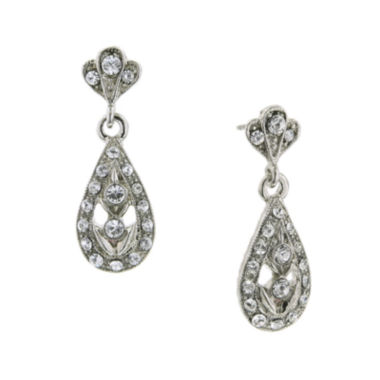 jcpenney.com | 1928® Silver-Tone Crystal Teardrop Earrings