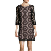London Times 3/4-Sleeve Sundial Lace Shift Dress