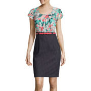 Alyx® Flutter Short-Sleeve Floral Chiffon Top Denim Skirt Dress