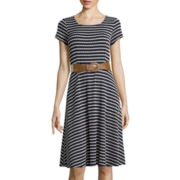 Perceptions Short-Sleeve Belted Striped Dot Dress