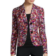 Black Label by Evan-Picone Printed Shantung Jacket