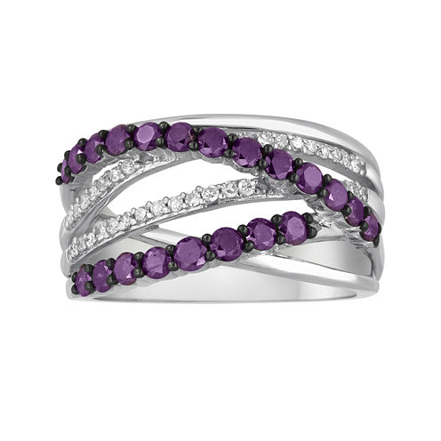 LIMITED QUANTITIES1 CT. T.W. White and Color-Enhanced Purple Diamond 14K White Gold Crossover Ring