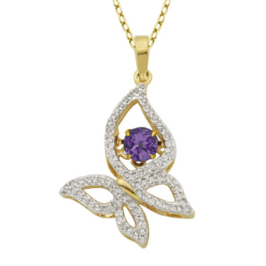 jcpenney.com | Genuine Amethyst and Lab-Created White Sapphire Butterfly Pendant Necklace