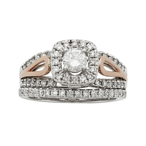 1 CT. T.W. Certified Diamonds 14K Two-Tone Gold Bridal Ring Set