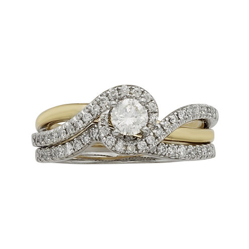 3/4 CT. T.W. Certified Diamonds 14K Two-Tone Gold Bridal Ring Set