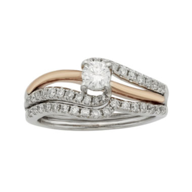 jcpenney.com | 3/4 CT. T.W. Certified Diamonds 14K Two-Tone Gold Bridal Ring Set