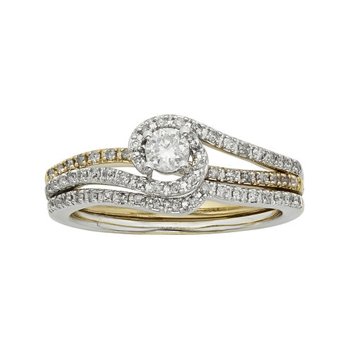 1/2 CT. T.W. Diamond 10K Two-Tone Gold Bridal Ring Set