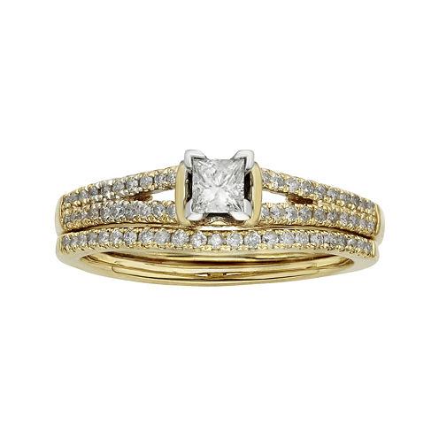 1/2 CT. T.W. Diamond 10K Yellow Gold Bridal Ring Set